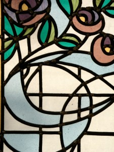 Leaded stained glass panel